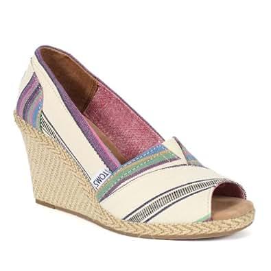 toms s wedge sandal stripe size
