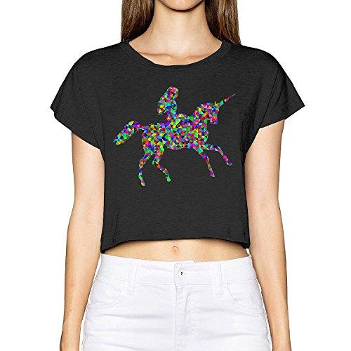SAXON13 Women's Fashion Woman Riding Unicorn Bare Midriff Sexy Low Cut T-Shirt Black Size XL