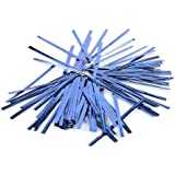 SODIAL(R) 100 Pcs Blue Metallic Plastic Twist Ties for Cello Lollipop Candy Bags Bakery