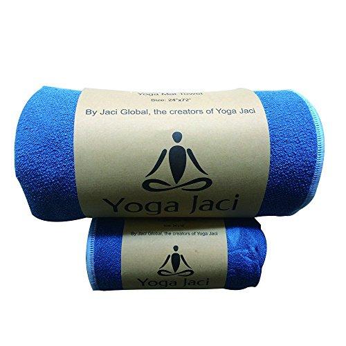 Yoga Mat Towel + Hand Towel Combo - Non Slip - Ultra Absorbent - Premium Microfiber - Quick Dry - Machine Washable (Blue, 1 Mat Towel 24