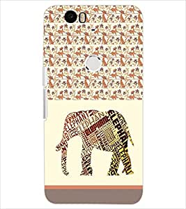 PrintDhaba QUOTE ELEPHANT D-6199 Back Case Cover for HUAWEI NEXUS 6P (Multi-Coloured)