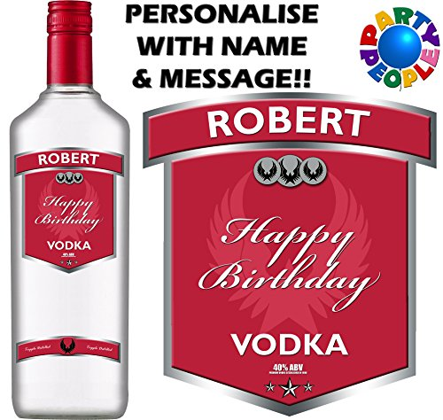 Party People discount duty free PERSONALISED VODKA BOTTLE LABEL - ANY NAME & MESSAGE