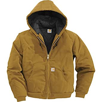 Carhartt Men's Quilted Flannel Lined Duck Active Jacket Brown Large Tall