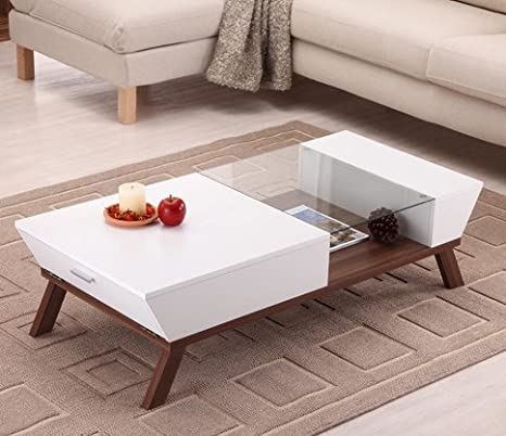 Hokku Designs Brody White Coffee Table with Open Shelf Below and Drop Down Side Panels Made from Wood, Veneers and Glass Top