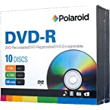 Polaroid PRDVDR0010J DVD-R 4.7GB 120-Minute 16x Recordable DVD Disc, 10-Pack Slim Case