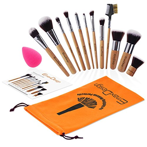 Details for [ Arrival] EmaxDesign 12+1 Piece Makeup Brush Set,12 Pcs Professional Bamboo Handle Foundation Blending Blush Eye Face Liquid Powder Cream Cosmetics Brushes & 1 EmaxBeauty Blender Makeup Sponges by EmaxDesign