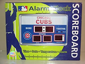 MLB Team Scoreboard Desk Clock Team: Chicago Cubs by Team Sports America