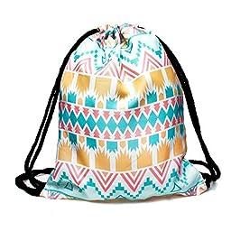 Drawstring Backpack Rucksack School Book Bags Gymbag Aztec Pastel [010]