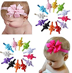 Qandsweet Baby Girl\'s Headbands Hair Bow (12 Pack)
