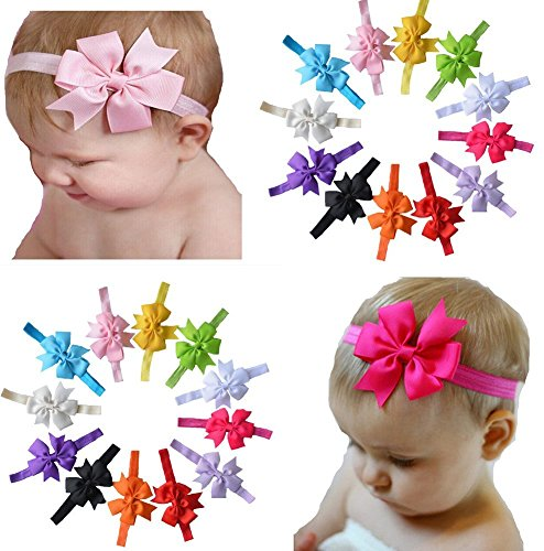 Qandsweet Baby Girl's Headbands Hair Bow (12 Pack)