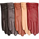 WARMEN Elegant Women Genuine Nappa Leather Winter Warm Soft Lined Gloves (M, Black)