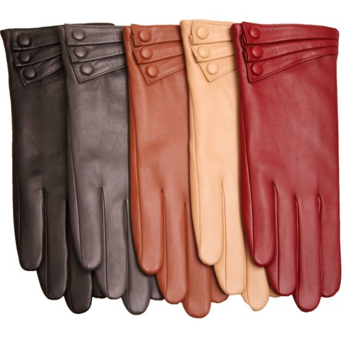 WARMEN Elegant Women Genuine Nappa Leather Winter Warm Soft Lined Gloves (S, Black)