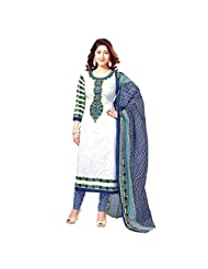 Fabfirki White And Blue Synthetic Printed Salwar Suit