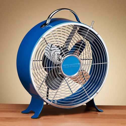 Deco Breeze Colored Retro Metal Box Fan, Sapphire