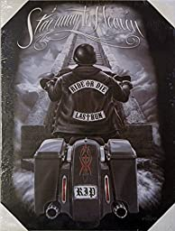 DGA Day of the Dead Ride or Die Biker Stretched Wood Frame Canvas Wall Art 12x16 Inches - Stairway to Heaven