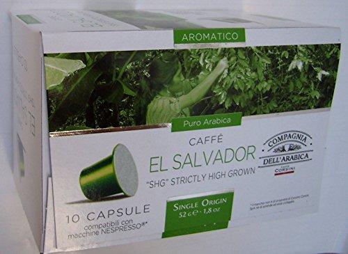 """Buy Nespresso Compatible Capsules SINGLE ORIGIN Compagnia dell'Arabica - EL SALVADOR """"SHG"""" STRICTLY HIGH GROWN - 10 caps / box (TOTAL: 30 caps) - Compagnia dell'Arabica - a Caffe Corsini S.p.A. company Group"""