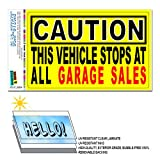Vehicle Stops At Garage Sales - Funny SLAP-STICKZ(TM) Automotive Car Window Locker Bumper Boot Sticker