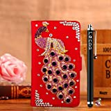 Locaa(TM) HTC Desire 510 HTC510 3D Bling Peacock Case + Phone stylus + Anti-dust ear plug Deluxe Luxury Crystal Pearl Diamond Rhinestone eye-catching Beautiful Leather Retro Support bumper Cover Card Holder Wallet Cases [Peacock Series] Blue case - Purpl