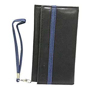 Jo Jo A5 Nillofer Leather Wallet Universal Pouch Cover Case For Obi Fox S453 Black Dark Blue