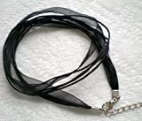 "10pcs Black 4+1 Voile Ribbon Necklace Cord 18"" W/extender +Free Beading Station Handcafted Pendant"