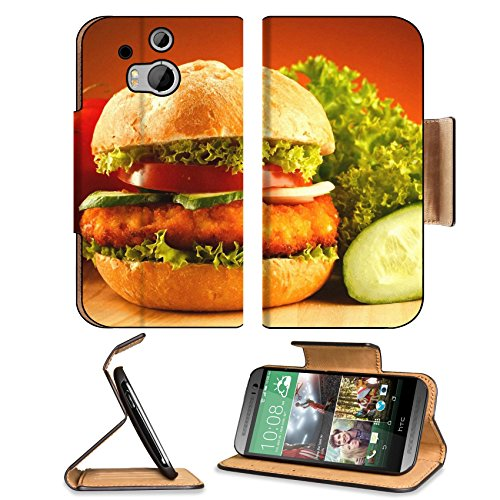 Fast Food Hamburger Tomato Cucumber Htc One M8 Flip Case Stand Magnetic Cover Open Ports Customized Made To Order Support Ready Premium Deluxe Pu Leather 6 4/16 Inch (158Mm) X 3 4/16 Inch (82Mm) X 9/16 Inch (14Mm) Liil Htc1 Cover Professional M 8 Cases M_ front-977471