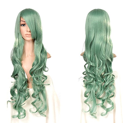 """Rbenxia Curly Cosplay Wig Long Hair Heat Resistant Spiral Costume Wigs Green 32"""" 80cm"""