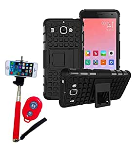 Hard Dual Tough Military Grade Defender Series Bumper back case with Flip Kick Stand for Samsung S7 + Wireless Bluetooth Remote Selfie Stick for all Smart phones by carla store.