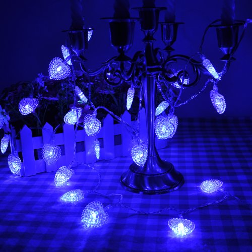 Lychee® 13 Ft 4M 40Led Operated Outdoor And Indoor Battery Heart-Shaped String Lights With 2 Functions For Room Home Garden Christmas Party Decoration (Blue)