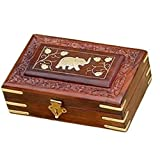 Aarsun Hand Carved Brass Inlaid Box With Elephant Brass Design In Sheesham Medium