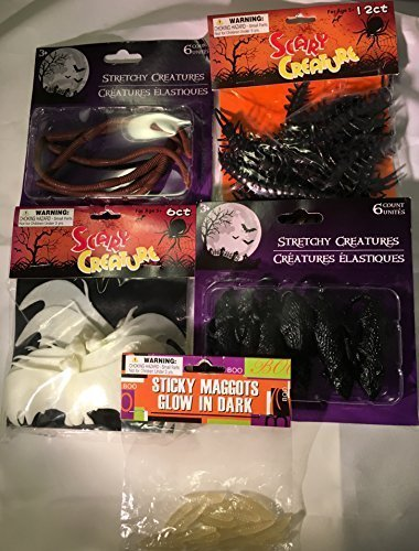 HALLOWEEN SCARY PARTY FAVOR BUNDLE - 12 SCARY CREATURE BUGS- 6 BLACK MICE - 6 BROWN WORMS - 1 PKG STICKY GLOW IN THE DARK MAGGOTS (Old Glow Worm compare prices)