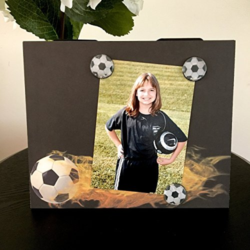 Soccer Fireball team coach customized captain mom dad gift handmade magnetic picture frame holds 5