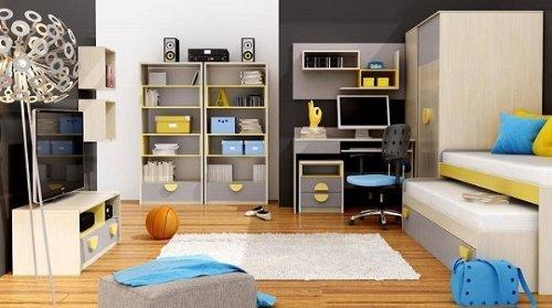 Kinderzimmer Jugendzimmer komplett Pik Pok 05 (7tlg.) Eiche Creme/ Grau Children room/furniture günstig kaufen