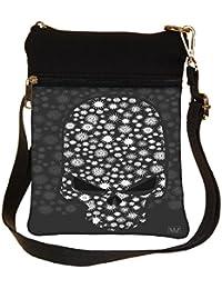 Snoogg Floral Skull Vector Cross Body Tote Bag / Shoulder Sling Carry Bag