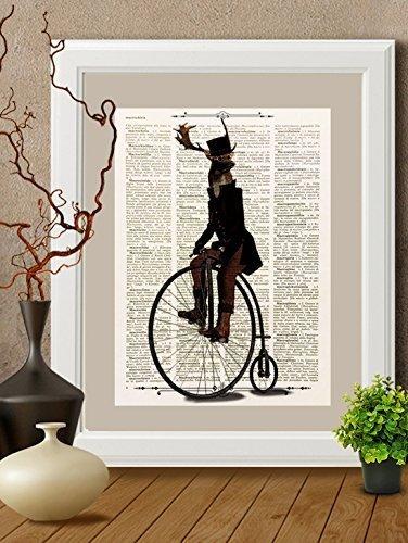 stampa-cervo-in-bicicletta-su-pagina-di-libro-antico