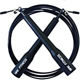 NAK Fitness Premium Speed Cable Jump Rope with super-fast high-grade metal bearings for serious Cross Fit training, cardio exercise, Boxing, MMA and endurance training with speed rope. Long handles help Master Double Unders and Triple Unders. Fully Adjustable length for jump ropes. Satisfaction Guaranteed.