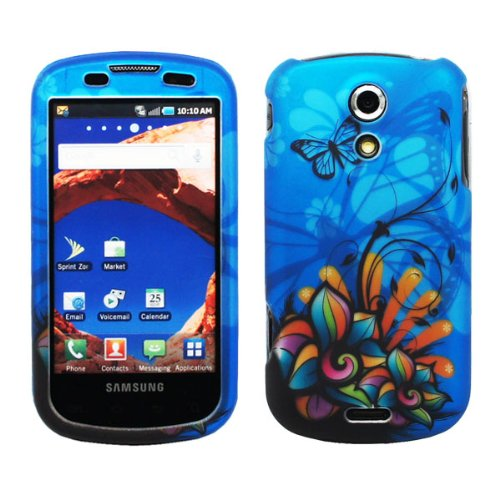 Blue Butterfly Orange Green Pink Daisy Flower Design Rubberized Snap on Hard Cover Protector Faceplate Cell Phone Case for Sprint Samsung Epic 4G Galaxy S D700 + LCD Screen Guard Film + iTuffy Accessories Bag