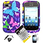 4 items Combo: ITUFFY (TM) LCD Screen Protector Film + Mini Stylus Pen + Case Opener + Design Rubberized Snap on Hard Shell Cover Faceplate Skin Phone Case for ZTE Fury N850, ZTE Director N850L, and ZTE Valet Z665C, Android Smartphone (Purple Color Butterfly)