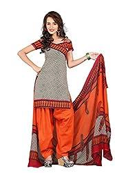 BanoRani Beige & Orange PolyCotton Printed UnStitched Dress Material