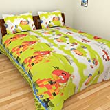 BeautifulHOMES 180 TC Cotton Double Bedsheet with Two Pillow Covers - Multi Color, CF032