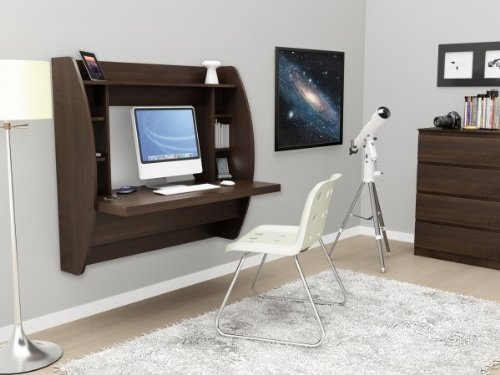 Prepac Espresso Floating Desk with Storage