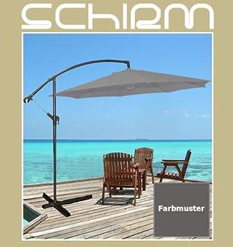 ampelschirm 3m grau 13 sonnenschirm schirm kurbel fu gartenschirm anthrazit us213. Black Bedroom Furniture Sets. Home Design Ideas