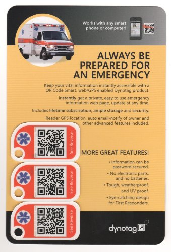 Dynotag® Web/Gps Enabled Qr Smart Mini Emergency Tags - With Neck Lanyards: Set Of 3 Unique Tags