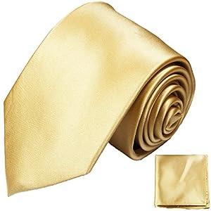 Paul Malone Satin Gold sandfarben Krawatten Set fleckabweisende 100% Seidenkrawatte mit Einstecktuch