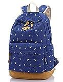 Leaper Lightweight Canvas Laptop Backpack Cute School Bags (Large, Deer Navy Blue)