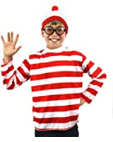 ILOVEFANCYDRESS® CHILDS 'FIND ME' FUNNY MAN BOYS GIRLS LONG SLEEVE RED & WHITE STRIPE TOP + RED WHITE BOBBLE HAT + BLACK NERD GLASSES FANCY DRESS COSTUME SET 'SEARCH FOR ME' BOOK WEEK (10-12 YEARS)