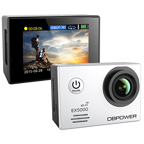 DBPOWER-EX5000-14MP-1080P-FHD-Waterproof-WIFI-Action-Camera-Bundle-with-Accessories-17-Items-White