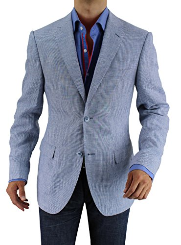 Bianco B Men's Two Button Linen Blazer Modern
