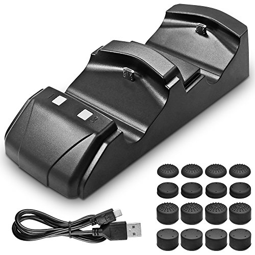 Dual Shock Charging Dock for PlayStation 4 Controllers with 16 Thumb Grips, AFUNTA Charger Charging Station for PS4, 16 Silicone Thumbstick Pads