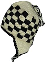 WOOL CHULLO FLEECE LINED SKI HAT TOQUE (BLACK AND OFF WHITE)