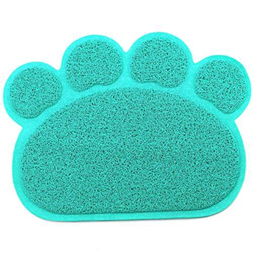 Pet Dog Puppy Cat Feeding Mat Pad Cute Paw PVC Bed Dish Bowl Food Water Feed Placemat Wipe Clean (30*40cm, Blue)